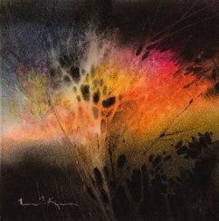 "Linda Kemp Canada Nightscape - Caught in the Light Beam 8x8"""