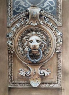 Anne Purho Finland A Door in Alexander Street in Helsinki 42x54 cm