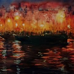 """Sankar Thakur India Varanasi 7 pm 24x30"""""""
