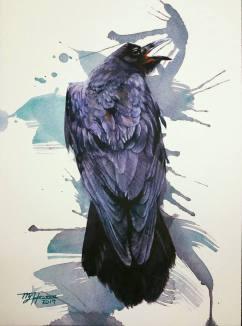 "Young Hwan Moon South Korea Raven-Cry 11x14"""