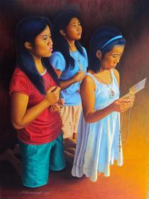 Mark B. Hermoso Philippines Threesome at Pray 47x54 cm