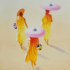 Min Wae Aung Myanmar Towards Monastery 2017 76x56 cm