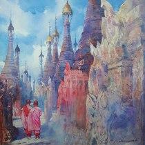 Khin Maung Zaw Myanmar A Place in Kekku 61x61 cm