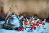 Diana Gorbach Belarus Tea with Viburnum 35x50 cm