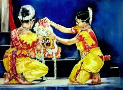 "Dr. Somnath Bhattacharyya India Odissi mangalacharan - a divine celebration 24x18"""
