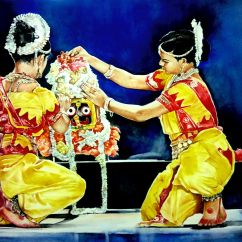 Dr. Somnath Bhattacharyya India Odissi mangalacharan - a divine celebration 24x18""