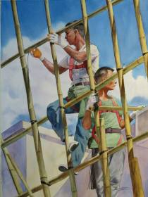 Chan Kwok Ting Hong Kong Scaffolding Workers 76x56 cm
