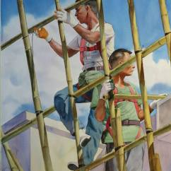 Chan Kwok Ting Hong Kong Scaffolding Workers 76x56 cm