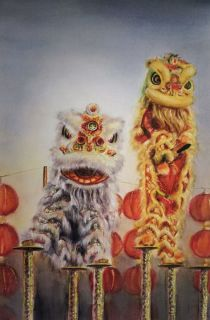 Hoi Yan Kwok Hong Kong Lion Dance 54x36 cm
