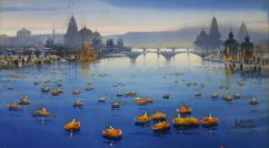 Ganesh Hire India Celebrating Lamp Festival 64x114 cm