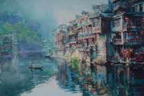 Lu Richao China Fenghuang Ancient Town 38x56 cm