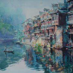 Lu Richao China Fenghuang Ancient Town 38x56 cm