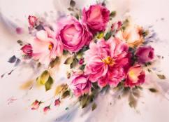 Mohammad Ali Yazdchi Iran Fresh Flowers 55x75 cm