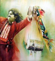 Ishfaque Ali Pakistan Folk Dance 51x57 cm