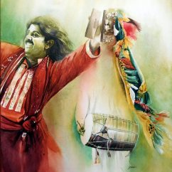 Ishfaque Ali Pakistan Folk Dance 51x57 cm