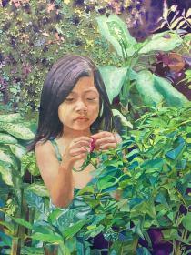 "Alfredo S. Morales Philippines Little girl picking flower 24x18"""