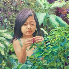 Alfredo S. Morales Philippines Little girl picking flower 24x18""