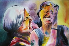 Sukdev Das India (Youth) Expression of Holi 38x56 cm