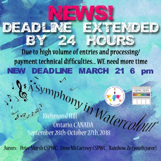 IWS Canada Symphony in Watercolour deadline extended 24 hours.