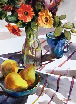 "Margaret Roseman - Canada. Still Life with Pears. 11x15""."