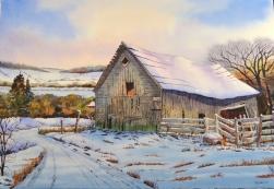 "Roy Tibbits - Canada. Winter Barn. 15x22""."