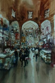 """Farid Ahmadi - Canada. Shopping Centre Isfahan. 15x22""""."""