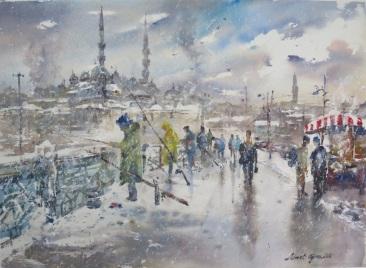 AHMET OGRAS TURKEY Fishermen on the Galata Bridge in Istanbul