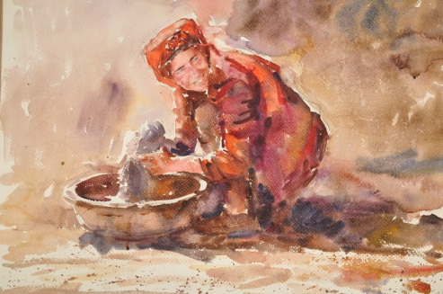 JIA ZHONG CHINA Tajik women wash clothes