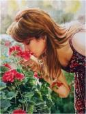 Majid Yeganegi. Iran. Girl kissing blossoms.